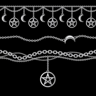 Seamless pattern of silver metallic chain borders with pentagram and moon pendant