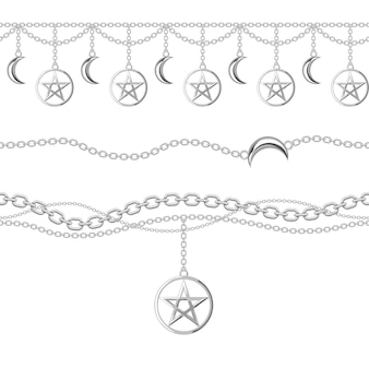 Seamless pattern of silver metallic chain borders with pentagram and moon pendant.