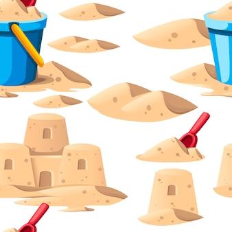 シームレスパターン。青いバケツと赤いシャベルのあるシンプルな砂の城。漫画のデザイン。白い背景の上の平らなイラスト。