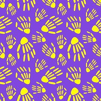 Seamless pattern of skeleton hand halloween pattern vector illustration