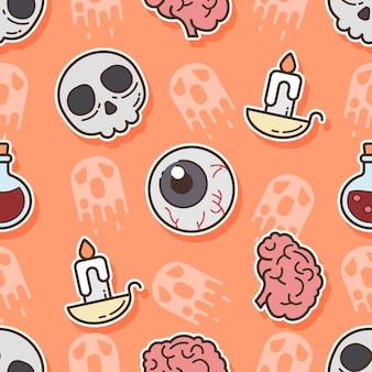 ハロウィーンの日のシームレスなパターンの頭蓋骨と脳