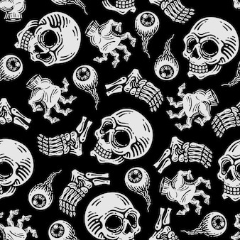 Seamless pattern of skull and zombie hand in dark background