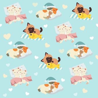 The seamless pattern of sleeping cute cat set