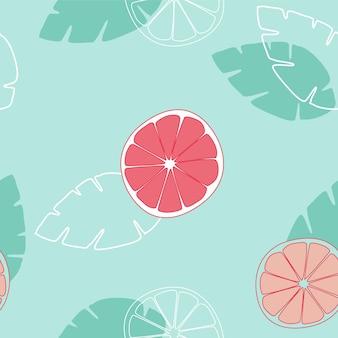 シームレスなパターンは、緑青の背景にオレンジまたはグレープフルーツの果実をスライスします。ベクトルイラスト。