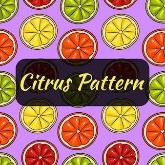 Seamless pattern of slices of lemon, grapefruit. lime and orange.