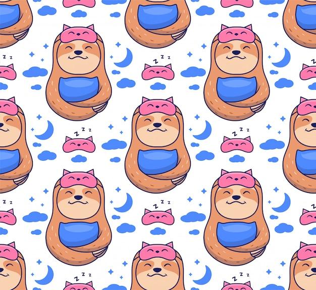 The seamless pattern of sloths dreaming with sleep masks.