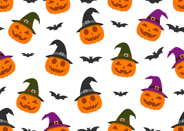 Seamless pattern of smile pumpkin devil wearing witch hat and bat