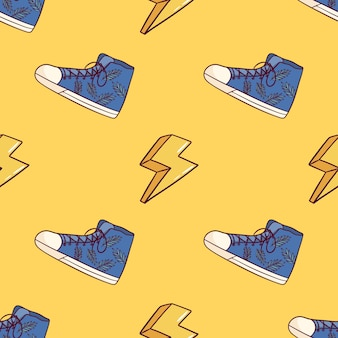 Seamless pattern of sneaker shoes with thunder decoration