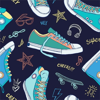 Бесшовные кроссовки для обложки, текстиля, ткани, дизайн футболки.