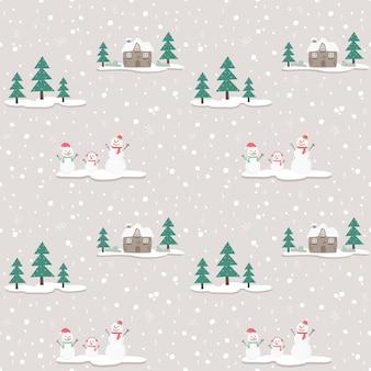 Seamless pattern snowman on gray bg