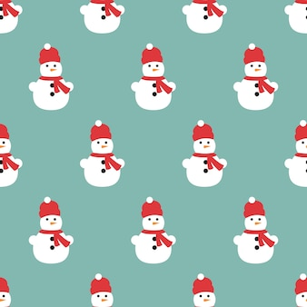 A seamless pattern of snowmen and snowflakes.