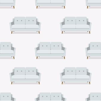 Seamless pattern. sofa, armchair, couch. vector. colorful set furniture in flat design. cartoon illustration.