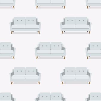 シームレスパターン。ソファ、アームチェア、ソファ。ベクター。フラットなデザインのカラフルなセット家具。漫画のイラスト。
