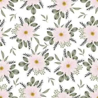Seamless pattern of soft pink daisy