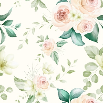 Seamless pattern of soft watercolor flowers arrangements on pastel background.