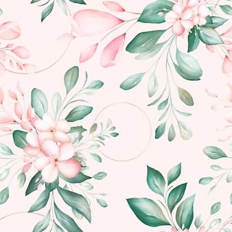 Seamless pattern of soft watercolor flowers arrangements with geometric glitter