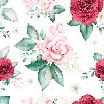 Seamless pattern of soft watercolor flowers arrangements
