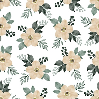 Seamless pattern of soft yellow flower for background and textile