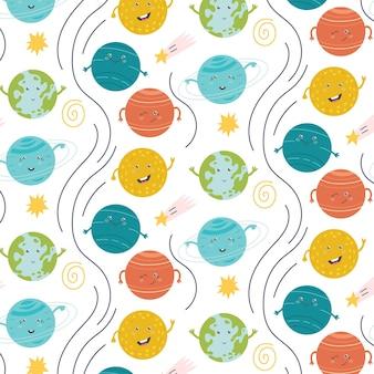 Seamless pattern solar system planet star