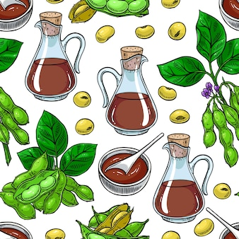 Seamless pattern of soybeans and soy sauce. hand-drawn