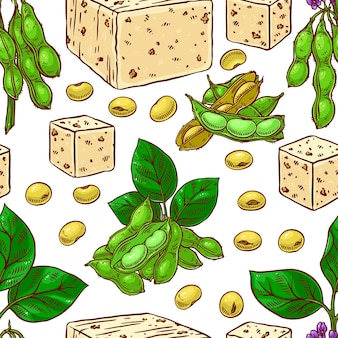 Seamless pattern of soybeans and tofu. hand-drawn
