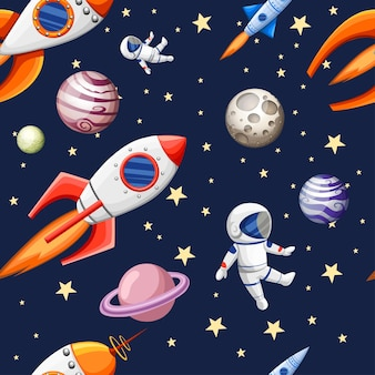 Seamless pattern of space elements cartoon design