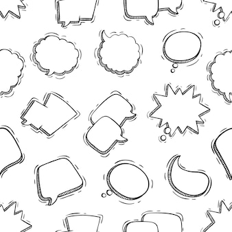 Seamless pattern of speech bubbles with doodle style