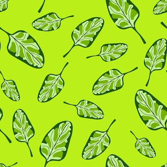 Seamless pattern spinach salad on bright green background. modern ornament with lettuce. random plant template for fabric. design vector illustration.