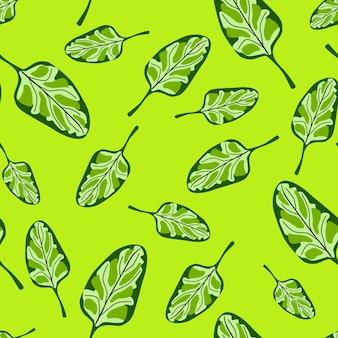 원활한 패턴 밝은 녹색 배경에 시금치 샐러드입니다. 양상추와 함께 현대 장식입니다. 직물에 대한 임의의 식물 템플릿입니다. 디자인 벡터 일러스트 레이 션.