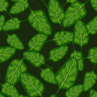 원활한 패턴 어두운 배경에 시금치 샐러드입니다. 양상추와 함께 현대 장식입니다. 직물에 대한 임의의 식물 템플릿입니다. 디자인 벡터 일러스트 레이 션.