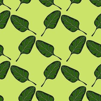 원활한 패턴 밝은 녹색 배경에 시금치 샐러드입니다. 양상추와 함께 현대 장식입니다. 직물에 대한 기하학적 식물 템플릿입니다. 디자인 벡터 일러스트 레이 션.