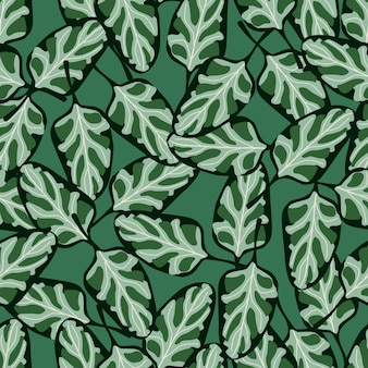 Seamless pattern spinach salad on teal background. abstract ornament with lettuce. random plant template for fabric. design vector illustration.