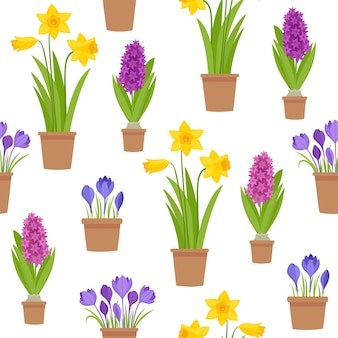 Seamless pattern of spring flowers in pot isolated on white.