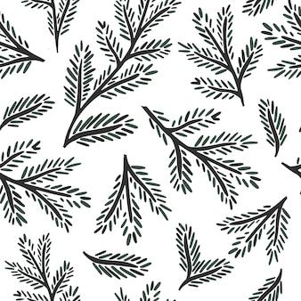 밝은 배경 벡터 일러스트 레이 션에 원활한 패턴 가문비 나무 지점