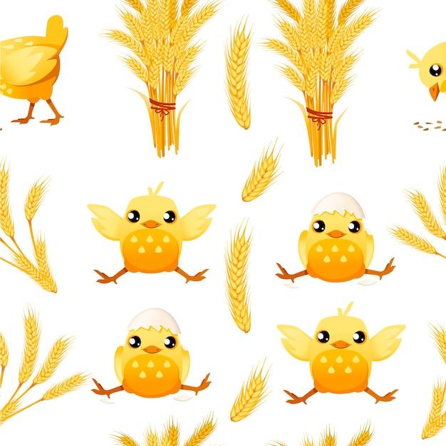 Бесшовный стек пшеницы и счастливый маленький цыпленок мультипликационный персонаж проектирует плоскую векторную иллюстрацию на белом фоне.