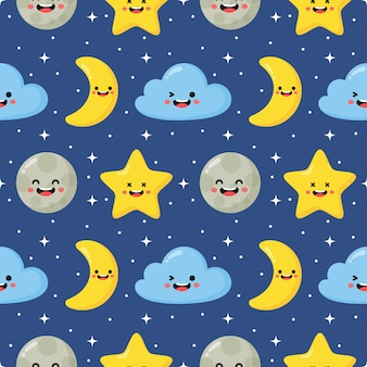 Seamless pattern stars, moon and clouds. kawaii wallpaper on blue background.