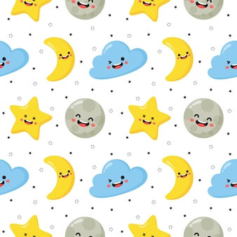 Seamless pattern stars, moon and clouds. kawaii wallpaper on white background.
