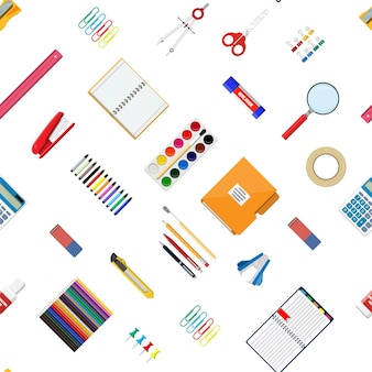 원활한 패턴 편지지 세트입니다. 책, 노트북, 눈금자, 칼, 폴더, 연필, 펜, 계산기, 가위, 페인트 테이프 파일 사무용품 학교 사무실 교육 장비 벡터 일러스트 레이 션 평면 스타일