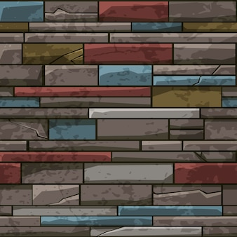Seamless pattern of stone brick old wall, multicolored texture for wallpaper.