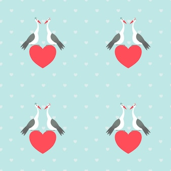 Seamless pattern of storks couple