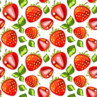 Seamless pattern of strawberries