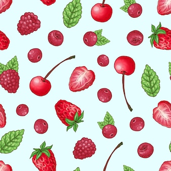 Seamless pattern strawberry cherry raspberry.