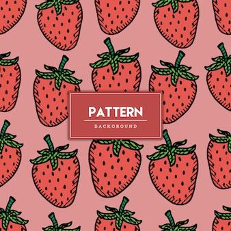 シームレスパターンイチゴ果実手描きイラスト