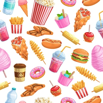 Seamless pattern street food.