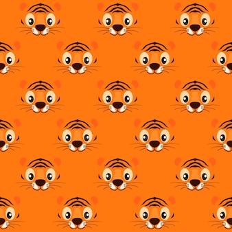 Seamless pattern striped cute tiger face for wallpaper.