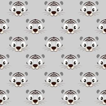 벽지에 대한 원활한 패턴 줄무늬 귀여운 흰색 호랑이 얼굴. 벡터 일러스트 레이 션 동물과 질감 흑백 배경입니다.
