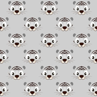 Seamless pattern striped cute white tiger face for wallpaper. vector illustration textural black and white background with animal.