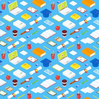 Seamless pattern of student accsessories on blue.illustration.