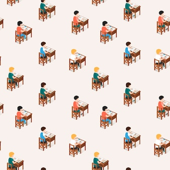 Seamless pattern of students sitting in classroom
