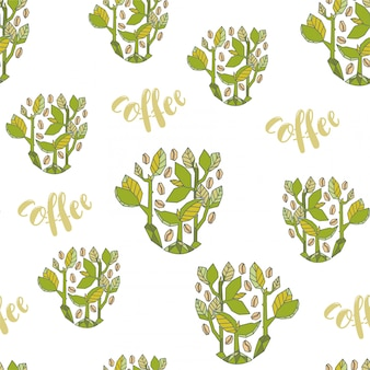 Seamless pattern. stylized coffee sprouts in geometrical design.